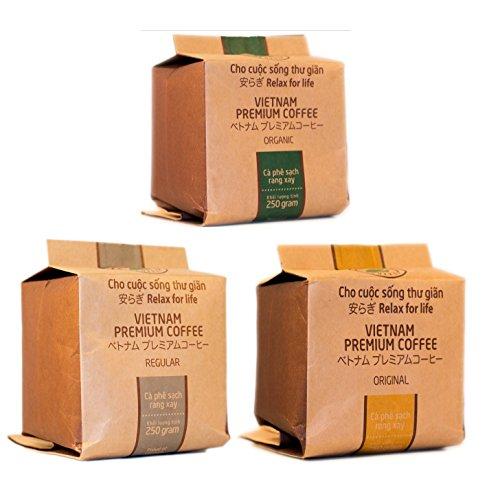 Sonderangebot - 3 x 250g Hello5 - Drei verschiedene Sorten - Hochwertige Kaffeebohnen aus dem Hochland von Da Lat - Dunkle Röstung Bio Kaffee-bohnen