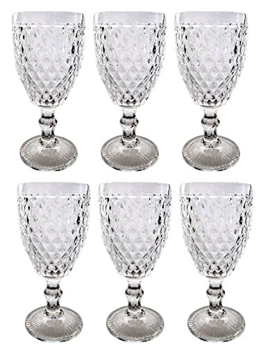Vintage 6 Teile Set Netz klar 16-5 König Weinglas Glas Gläser Weingläser Wasserglas Longdrinkglas