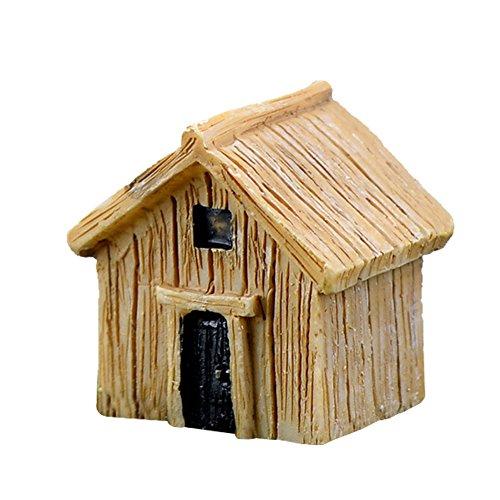 us, Miniatur-Feengarten-Holzhaus, Hütten-Figur, Bonsai-Ornamente, fürs Puppenhaus, Hobby-Zubehör, Garten- und Heimdeko, Kunstharz, gelb, S ()