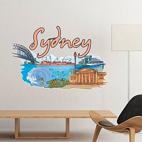 Wandtattoo Australische Stadt Wahrzeichen Sydney Opera House Great Barrier Reef Aquarell Aufkleber Zimmer Abnehmbare Dekorative Malerei, Längste Kante 20 Cm, In