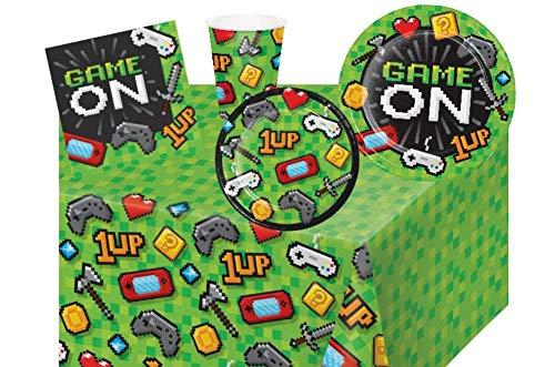 Videospiel-Partyzubehör: Spiel-Party-Set inkl. Teller, Servietten, Becher und Tischdecke für 8 Gäste (Video-spiele, Party Supplies)