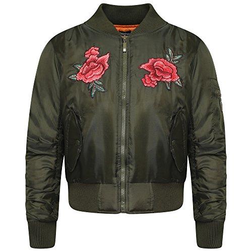 Fashion Oasis Nouvelles Filles Zip Bomber Jacket Vintage avec Poches pour Les 7-8, 9-10, 11-12, 13-14 et 15-16 Ans (11-12, Kaki Fleuri)