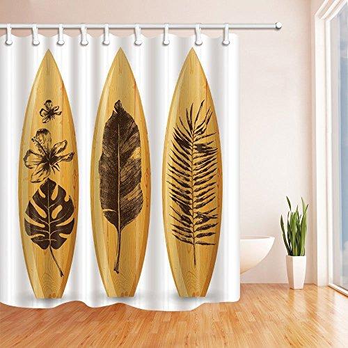 nyngei Tropical Palm Blätter Druck auf Surfboard Holz Polyester-Duschvorhang Schimmelresistent-Badezimmer Dekoration Bad Vorhänge 179,8x 179,8cm braun inklusive Haken - Runde Rod Druck-vorhang