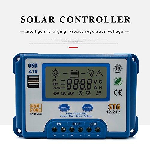 Huatuo Controlador de carga solar 20A 12V / 24V con pantalla LCD...