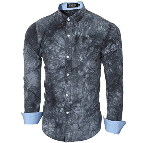 Men's Lapel Tie Dyed Long Sleeved Slim Fit Shirts gray