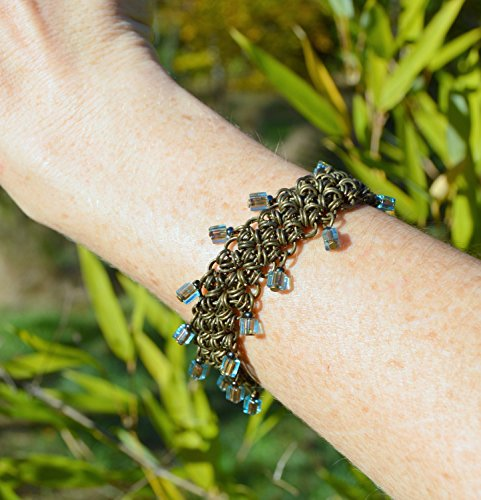 bronze-chain-mail-elven-bracelet-with-dragonfly-and-teal-blue-beaded-fringe-chainmail-elf-armour-med