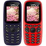 GLX W22 Pack Of 2 Dual Sim Basic Feature Mobile Phone (Blue+Red)