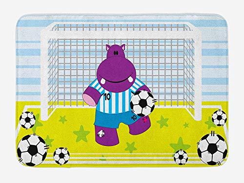 Sports Bath Mat, Cute Hippopotamus Soccer Goal Keeper Football Play Cartoon Print, Plush Bathroom Decor Mat with Non Slip Backing, 15.7X23.6 inch, Apple Green Baby Blue Purple