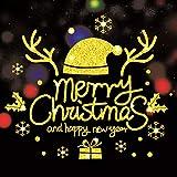HAPPYLR Weihnachten Weihnachten Aufkleber Glasfenster Aufkleber Goldene Shop Mall Glastüren und Fenster Aufkleber für ältere Menschen, 40 * 60 cm, Gold Sd25