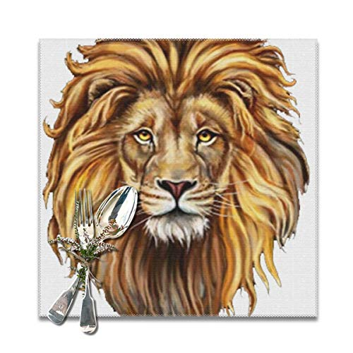 cb9cd8232 Funny&shirt Placemats for Dining Table,Big Cat Lion Non-Slip Insulation  Placemat Washable PVC