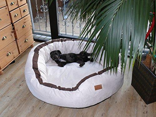 tierlando® LA4-05 LANA Hundesofa Hundebett VELOURS MEGA DICK gepolstert Gr. L 100cm CREME - 2