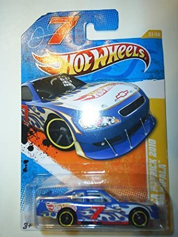 2011 Hot Wheels NASCAR DANICA PATRICK 2010 CHEVY IMPALA HW PREMIERE 37 of 50, #37 blue white flames with hot wheels logo and racing number
