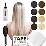 Tape Extensions Echthaar Haarverlängerung 50cm Tape In Haare mit Klebeband 30 Tressen x 4 cm breit und 2,5g Gewicht pro Tresse Farbe #24 Blond