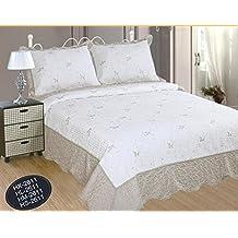 ForenTex- Colcha Boutí Cosida y Bordada, (HL-2611), cama 150 cm, 250 x 270 cm, Gris Beige, +2 fundas cojín 50 x 70 cm, colcha barata, set de cama, ropa de cama. Por cada 2 colchas o mantas paga solo un envío (o colcha y manta), descuento equivalente antes de finalizar la compra.