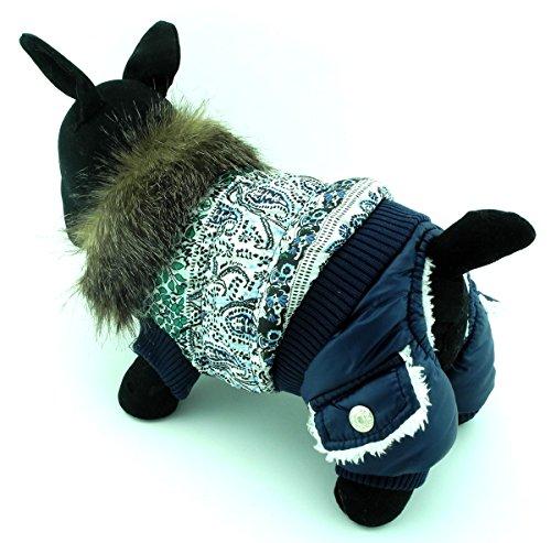 Kaninchen Fell Kragen Jacke (zunea Haustier Kleidung Apparel für kleine Hunde Katzen Winter Fleece gefüttert Fell Down-Kragen Jacke Wasser Resistent Blumen Muster Blau S)