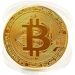 Forh 1 x Gold überzogene Bitcoin Münze Hoch wertiger BTC Sammlerstücke wertvolle Collectors Sammlermünzen Souvenir Kunst & Sammlerstück Business Geschenk Urlaub Dekoration Geschenk (Gold)
