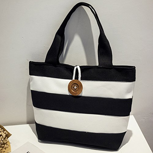 PDFGO Damen Portable Leinentasche Striped Bag Pin Gürtelschnalle Tasche Tote Bag Handtasche Black