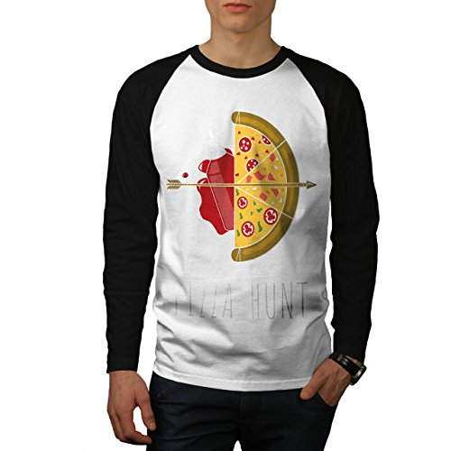 Pizza Jagd Pfeil Heiß Essen Herren S Baseball lange Ärmel T-Shirt | Wellcoda (Baseball Bekam)
