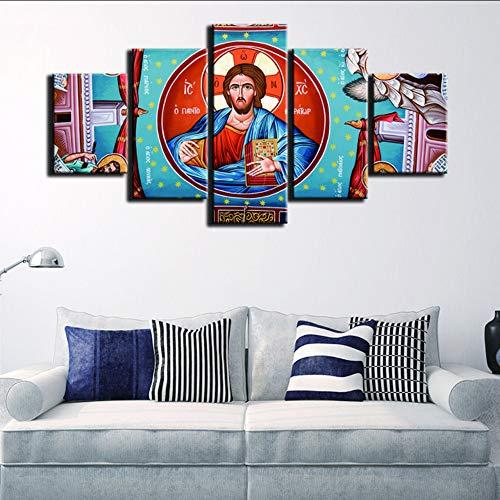 cmdyz (Sin Marco) HD Lienzo De ImpresiónCuadrosModularesArte De La Pared Pintura 5 Paneles Virgen María Moda para Sala De Estar Decoración Cartel