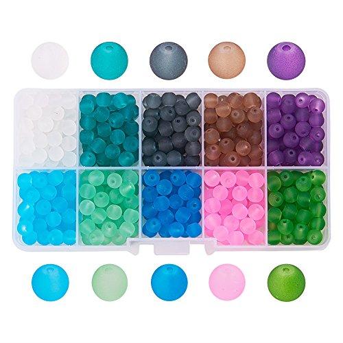 PandaHall 1Box 250 Stück 8mm Glas-Perlen rund bunt für Modeschmuck, gemischte Farben, Bohrung:1,3-1,6mm, ca. 250 Stück/Box. 6mm Colore Misto#3