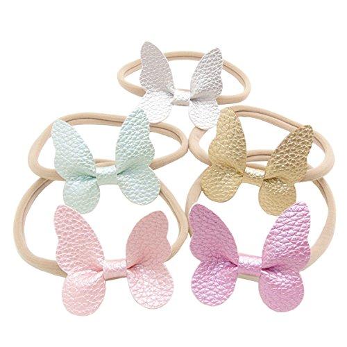 Jolieer 5 Stück Boutique Qualität Baby Mädchen Haar Bogen Haar Bands Elastische Stirnbänder Babygeschenke Taufe Geschenksets (Boutique Baby-bögen)