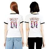 Best Friends T-Shirts für 2 Mädchen Sister Aufdruck – Sommer Oberteile Set für Zwei Damen Freunde Freundin BFF Geburtstagsgeschenk (Black Ringer + Black Ringer, S + Friends-S)