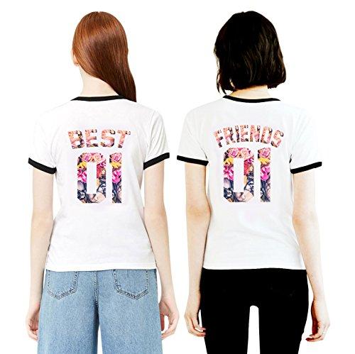 Best Friends T-Shirts für 2 Mädchen Sister Aufdruck - Sommer Oberteile Set für Zwei Damen - Beste Freunde Freundin BFF Geburtstagsgeschenk (Black Ringer + Black Ringer, Best-XS + Friends-XS) 2 Ringer