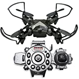 Remote Control Drone - Best drones for Kids Children Adults - 2 Control Modes with our NEW Wristwatch Remote Control / CONTROL WITH YOUR WRIST / No Camera / This Foldable Mini Quadcopter can do 360° 3D Flips & Rolls / Spare Parts Included in kit / Super E