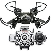 MINI DRONE for Kids Children Adults Beginners with no camera / CONTROL WITH YOUR WRIST / 2 Control Modes with our New Wristwatch Remote Controller / Better than flying rc helicopters / This foldable quadcopter can do 360° 3D Flips & Rolls / Spare Parts In