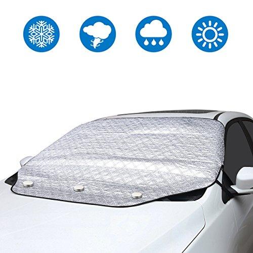 LiDiwee Cubierta de Parabrisas Coche Funda Protectora Magnética Protector Sol de Cubierta de Nieve Ventana Delantera Proteccion -Impermeable Anti UV Hielo- 190 * 116 * 147 cm (Plata, Toda-Tiempo)