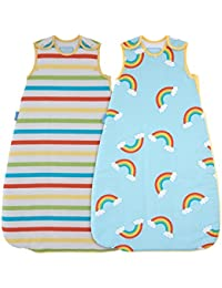 The Gro Company Rainbow Stripe Grobag Baby Sleeping Bag Wash and Wear Twin Pack, 6-18 Months, 1.0 Tog