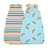 The Gro Company Rainbow Stripe Grobag Baby Sleeping Bag Wash and Wear Twin Pack, 6-18 Months, 2.5 Tog