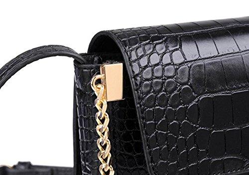 FZHLY Nuovo Tempo Libero Messenger Bag Simple Coccodrillo Del Modello Singolo Di Spalla Della Signora Piccolo Sacchetto Di Piazza,Black Pink