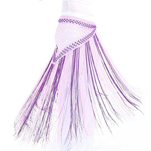 Danse du ventre costume Hip écharpe jupe Triangle Lengthen Tassels Coins Foulard Ceinture Dance Accessories light pink+purple
