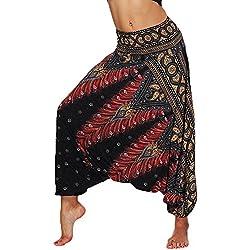 Nuofengkudu Mujer Pantalones Sueltos Hippi Tailandeses Estampado Verano Cintura Alta Elastica Entrepierna Baja para Yoga Casual Negro Pavo