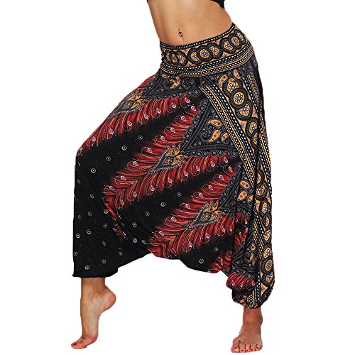 Nuofengkudu Femme Pantalons Legers Harem Sarouel Aladin Hippie Larges Léger Ethnique Calqué Smockée Taille Elastique Vacances Été Plage Yoga Pants Noir Pao