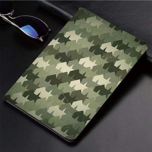 Yaoni Hülle für iPad (9,7 Zoll, Modell 2018/2017, 6. / 5. Generation),Camo, Grungy getragene alte Textur Military Forc,Ultra Slim Cover Schutzhülle PU Lederhülle/mit Auto Sleep Wake Up Funktion -