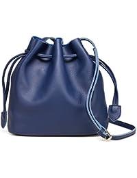 Kormei Women'S Genuine Leather Retro Drawstring Bucket Tote Bag With Shoulder Strap Blue