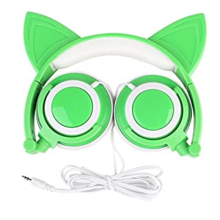 Katze Kopfhörer, AOUTOS Wiederaufladbare niedliche Katze Ohr Kopfhörer mit LED blinkt glühende Lichter faltbar über Ohr Cos-Play Fancy Headsets für PC, Laptop, iPhone, iPod, MP3, MP4 und Android Phone (Grün)