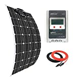 Giosolar Solar Panel 100W Flexible Solar Panel Kit Battery Charger Monocrystalline 20A MPPT Solar Charge Controller for Boat Caravan Off-Grid