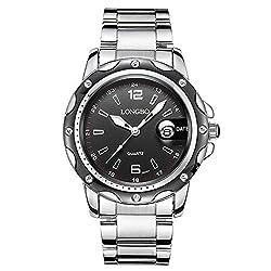 Mens Stainless Steel Watches, Water Resistant Black Silver Watch Quartz Analog Wrist Watch for Men (Black)