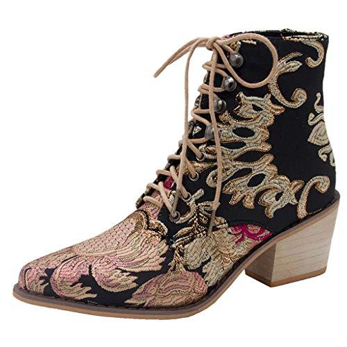 SEHRGUTE Westernstiefel Cowboystiefel für Damen | Klassische Schnürstiefel Stiefeletten mit Spitzen Zehen | Biker-Stiefel mit quadratischem Blockabsatz, Größe 35-43 EU -
