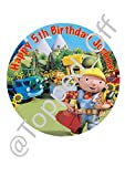 """Bob the Builder 7.5"""" round fondant icing edible cake topper and printed with your custom greeting - (FREE UK SHIPPING)"""