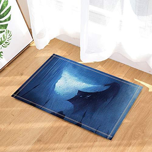 SHUHUI Unheimlich schwarzes Monster auf blauem Hintergrund Flying Dragon beängstigend Wasserdicht Rutschfest Keine Chemikalien (Monster Beängstigend)