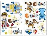 plot4u 21-teiliges Ritter Wandtattoo Set Kinderzimmer Babyzimmer in 5 Größen (2x16x26cm Mehrfarbig)