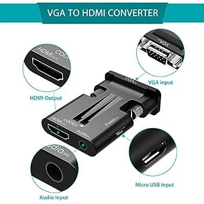 VICTSING Adaptateur VGA vers HDMI 1080P Câble Convertisseur VGA to HDMI avec Audio et Micro USB de VICTSING