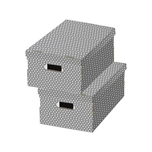 "COMPACTOR 2erSet Boxen aus Wellpappe, Mit Transportgriffen, Stapelbar, Grau \""Étoiles\"", 40x31x21cm, RAN7054"