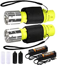 2 Pack Bright LED XM-T6 Diving Flashlight Submarine 3 Modes Light Scuba Safety Waterproof Underwater Torch for