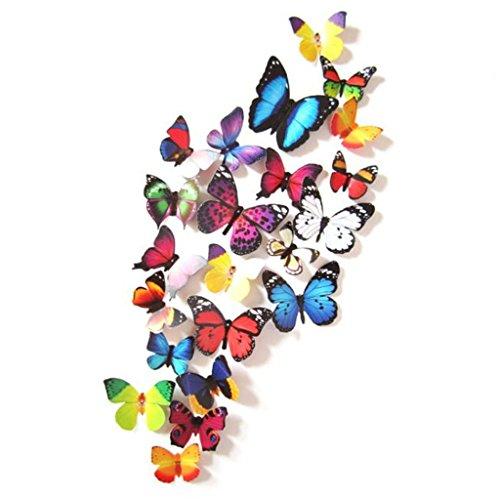 Vovotrade 19 pc 3D Bricolage Autocollants Muraux Autocollants Papillon Décorations Intérieure Nouveau (multicolore)
