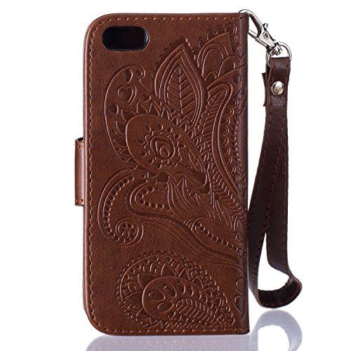 Custodia iPhone 5S,Custodia iPhone 5,Custodia iPhone SE,Custodia iPhone SE 5S 5,ikasus® iPhone SE 5S 5 Custodia Cover [PU Leather] [Shock-Absorption] Protettiva Portafoglio Cover Custodia Goffratura H Mandala:Marrone